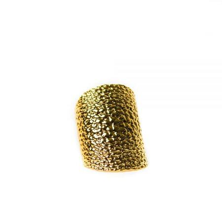 Fendi Hammered Gold-Plated Bracelet - Voyage In Style