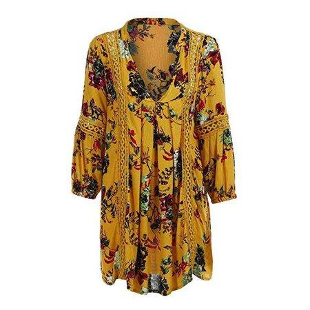 TLTL Women Boho Floral Long Maxi Evening Party Cocktail Beach Mini Dress Sundress (XL, Yellow) at Amazon Women's Clothing store: