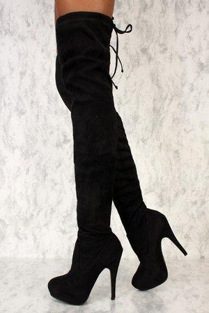 Sexy Black Platform Pump Thigh High Ami Clubwear Boots