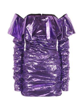 shiny purple off the shoulder dress