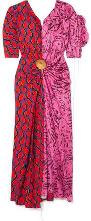 Embellished Patchwork Printed Satin Midi Dress - Pink