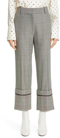 Cuff Hem Plaid Straight Leg Wool Blend Pants