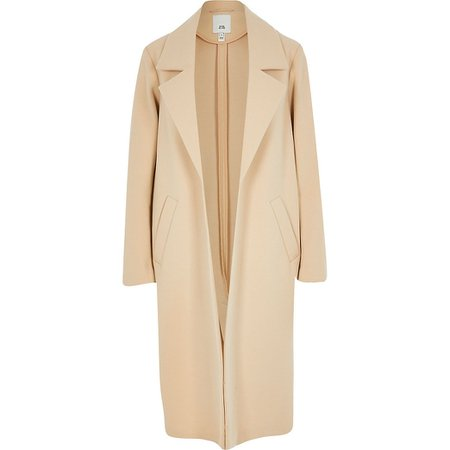 Brown long line relaxed coat | River Island