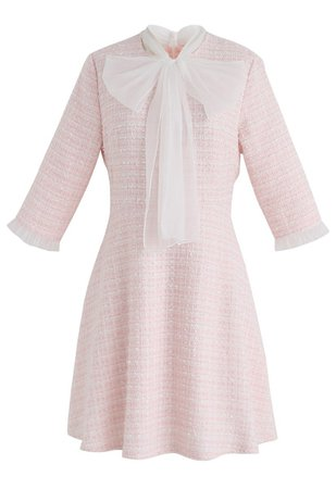 A Hint Of Femininity Tweed Dress in Pink - DRESS - Retro, Indie and Unique Fashion
