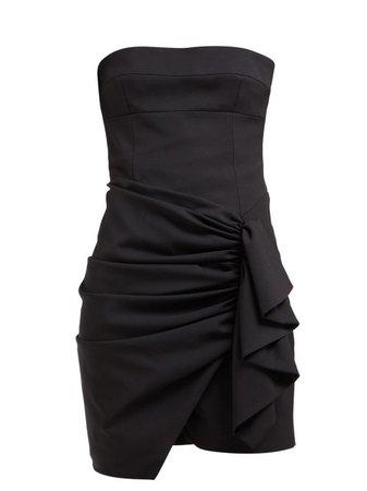 Alexandre Vauthier - Ruched Strapless Wool Blend Mini Dress - Womens - Black | ModeSens