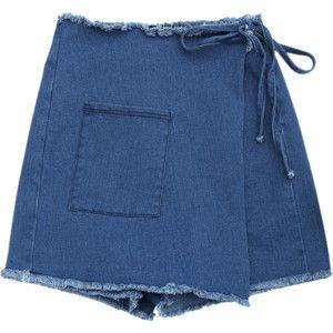 Asymmetrical Cutoffs Denim Wrap Shorts