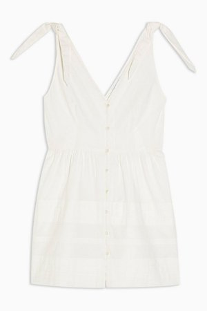 Ivory Pintuck Button Mini Dress   Topshop