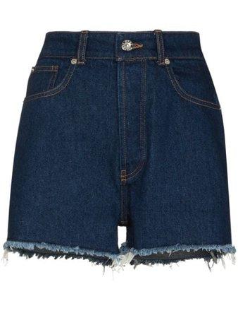 Paco Rabanne high-waisted Frayed Denim Shorts - Farfetch