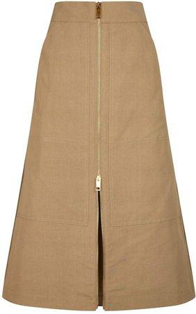 Cotton-Silk Canvas Maxi Skirt