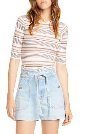FRAME Stripe Ribbed Cotton & Wool Sweater | Nordstrom