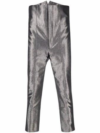 Comme Des Garçons Homme Plus high-waisted metallic trousers - FARFETCH