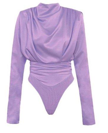 muse purple satin drape bodysuit