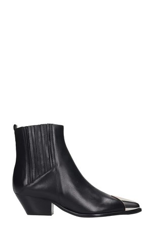 Schutz Texan Ankle Boots In Black Leather