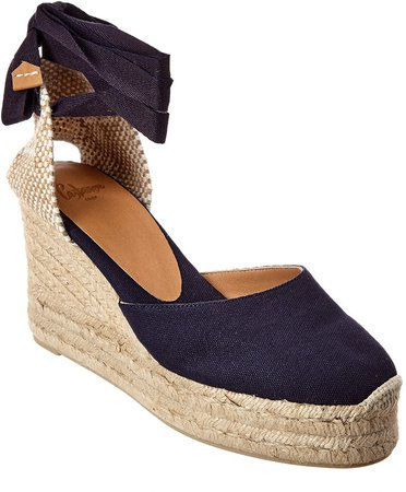 CastaEr Carina Ankle Wrap Canvas Wedge Espadrille