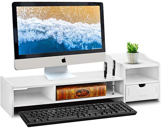 """Amazon.com : Monitor Stand Riser, Computer Laptop Riser Shelf with Organizer Drawer (White) (26""""L x 8""""W x 7""""H) : Office Products"""