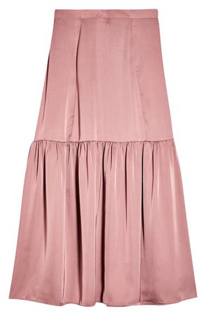 Topshop Satin Tiered Midi Skirt | Nordstrom