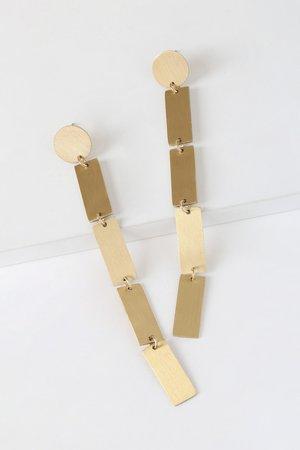 Geometric Gold Earrings - Brushed Gold Drop Earrings