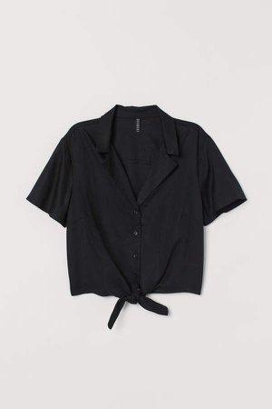 Tie-hem Resort Shirt - Black