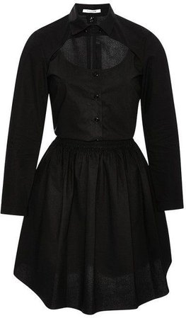 Carven Cut-Out Poplin Shirtdress Black