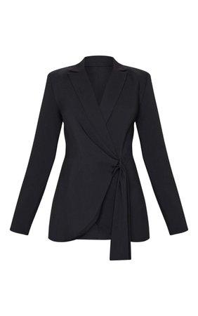 Black Woven Tassel Belted Blazer   Co-Ords   PrettyLittleThing USA