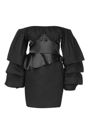 Off The Shoulder Peplum Corset Mini Dress | boohoo