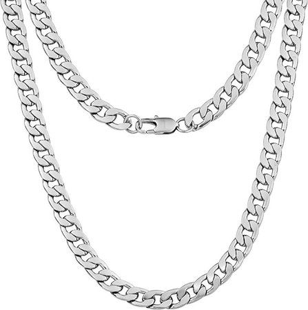"Silvadore 9mm Curb Mens Necklace Silver Chain Cuban - Stainless Steel Jewellery - Neck Link Chains for Men Man Women Boys Kids - 18"" 20"" 22"" 24"" - 8mm Bracelet 7.5"" 8"" 8.5"" 9"" - Flat 2mm Thick: Amazon.co.uk: Jewellery"