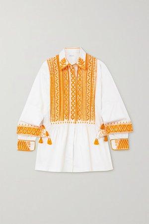 Tasseled Embroidered Cotton-poplin Shirt - White