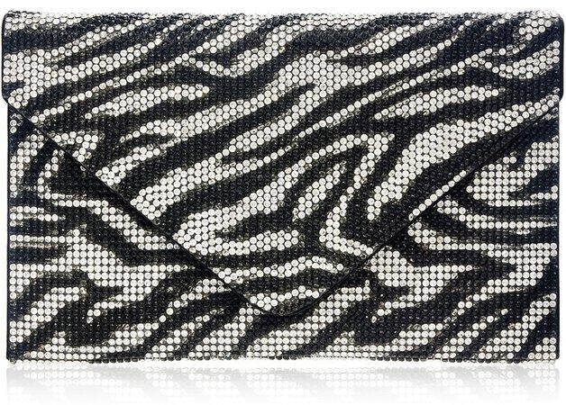 Zebra Stripe Crystal Envelope Clutch