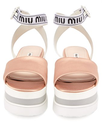 Logo-jacquard satin flatform sandals | Miu Miu | MATCHESFASHION.COM UK
