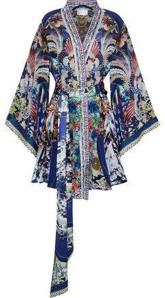 Darling's Destiny Crystal-embellished Printed Silk Crepe De Chine Mini Wrap Dress