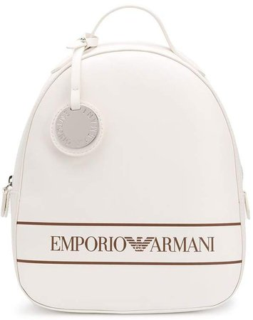 logo print faux-leather backpack