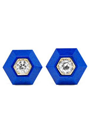 Fred Leighton | Collection 18-karat white gold, lapis lazuli and diamond earrings | NET-A-PORTER.COM