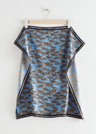 Leopard Motif Printed Scarf - Blue Leo - Lightweight scarves - & Other Stories