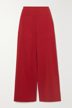 Cropped Stretch-knit Wide-leg Pants - Red