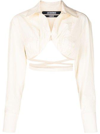Jacquemus La chemise Baci cropped shirt 211SH03211114140 - Farfetch