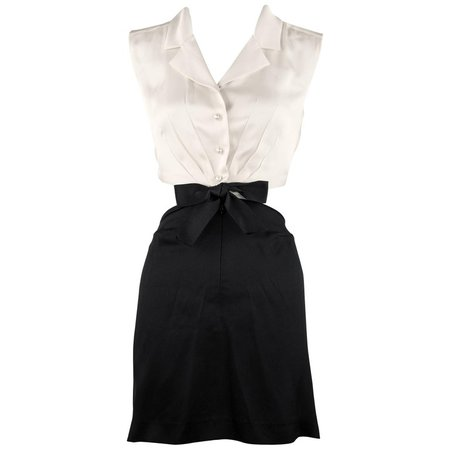 Chanel Vintage Silk Charmeuse Black and White Dress For Sale at 1stdibs