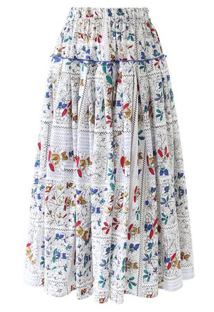 Stripes Print Ruffle Pleated Midi Skirt - Retro, Indie and Unique Fashion