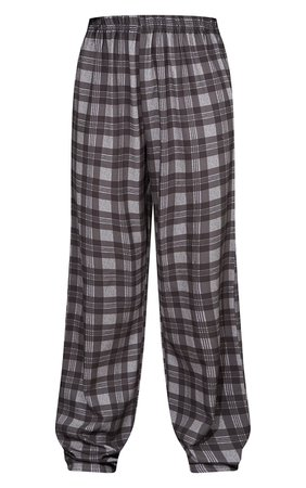 Grey Check Straight Leg Trousers | Trousers | PrettyLittleThing