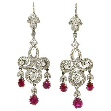 Edwardian Style Ruby Diamond Chandelier Earrings Drop Dangle Platinum Lever Back For Sale at 1stDibs