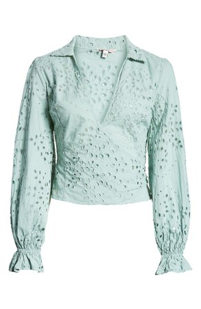 GUESS Kamy Eyelet Wrap Blouse   Nordstrom