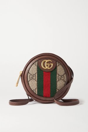 Brown Ophidia Circle mini textured leather-trimmed printed coated-canvas shoulder bag | Gucci | NET-A-PORTER