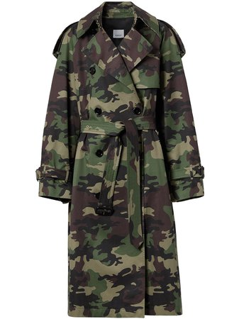 Burberry camouflage-print trench coat - FARFETCH