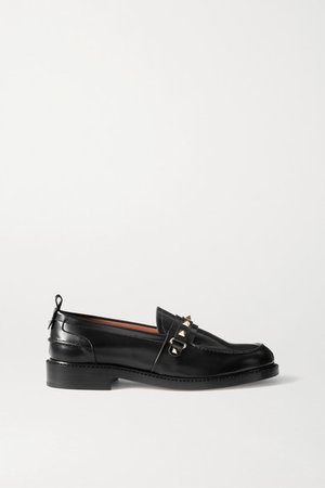 Garavani Rockstud Leather Loafers - Black