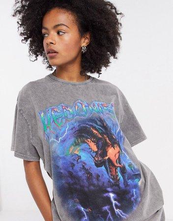 New Girl Order— Grå oversized T-shirt med grunge grafik | ASOS