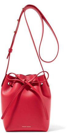 Mini Mini Leather Bucket Bag - Red