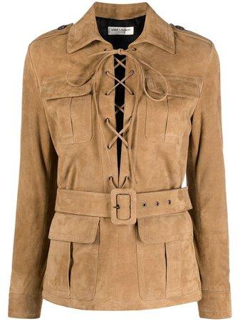 Saint Laurent, belted leather jacket