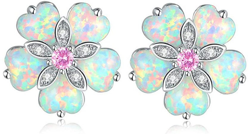 Amazon.com: CiNily Flower Opal Earrings Stud, Pink Topaz Zircon Rhodium Plated Women Hypoallergenic Jewelry Wedding Gemstone Stud Earrings 15mm: Clothing