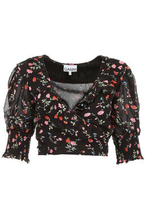 Ganni Crop Top With Floral Print