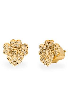 kate spade new york precious pansy pavé stud earrings | Nordstrom