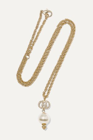 Gucci | Gold-tone, crystal and faux pearl necklace | NET-A-PORTER.COM